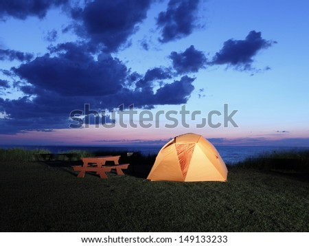 Camping on the lake Superior shore