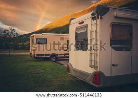 Camping Under the Rainbow. Two Compact Motorhomes Wild Camping in Norway. Camper Traveling.