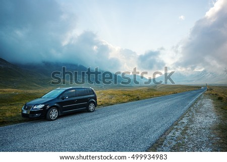 CAMPO IMPERATORE, ITALY - SEPTEMBER 2, 2016: Volkswagen Touran car on the street of Campo Imperatore, Gran Sasso.