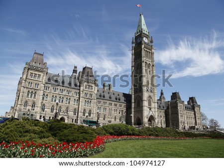 Canadian Parliament Building During The Annual Spring Tulip Festival
