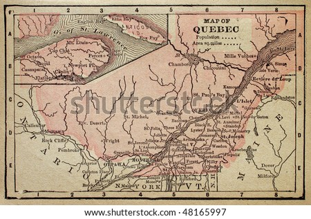 Canadian Province of Quebec, circa 1880. See the entire map collection: http://www.shutterstock.com/sets/22217-maps.html?rid=70583