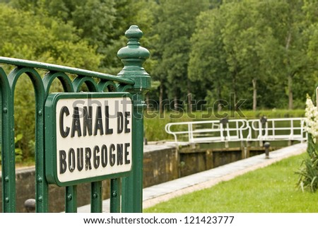 Canal lock, canal bourgogne. French waterway. France.