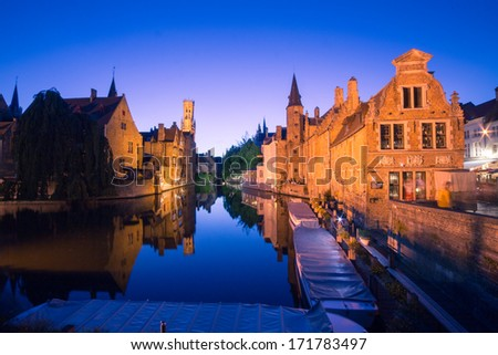 Canals in Bruges by night