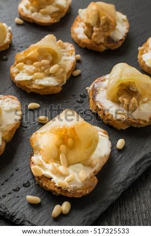 Canape crostini on slate board ideal stock photo 488609953 for Canape aperitif