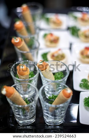Glasses seafood snacks banquet dish stock photo 102036559 for Canape selection
