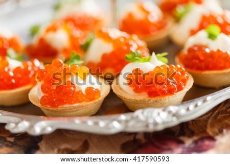 Salmon canapes close shot narrow focus stock photo for Canape with caviar