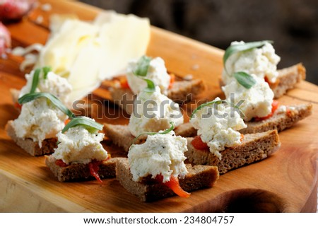 Toasts bacon onion stock photo 410917471 shutterstock for Smoked salmon cream cheese canape