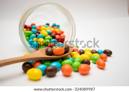 Candy which are scattered on the floor.
