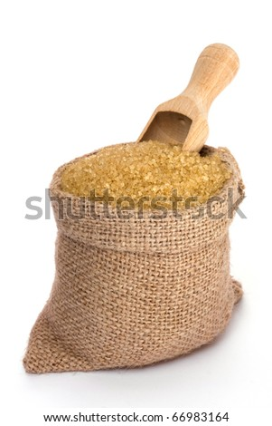 Cane sugar in small burlap sack