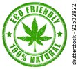Cannabis eco friendly stamp - stock vector