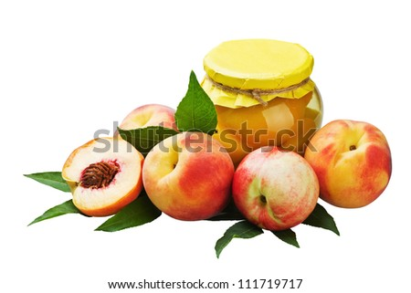 canned and fresh peaches isolated on white background