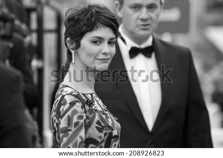 CANNES, FRANCE - MAY 14, 2014: Actress Audrey Tautou walks down the red carpet during the 67th Annual Cannes Film Festival on May 14, 2014 in Cannes, France.