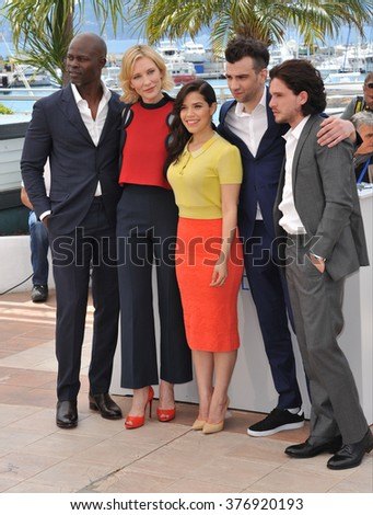 "CANNES, FRANCE - MAY 16, 2014: Djimon Hounsou, Cate Blanchett, America Ferrera, Jay Baruchel & Kit Harington at the photocall for ""How to Train Your Dragon 2"" at the 67th Festival de Cannes."