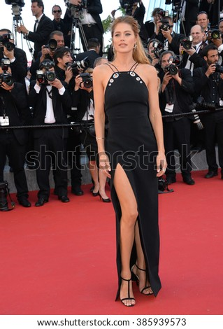 "CANNES, FRANCE - MAY 20, 2015: Doutzen Kroes at the gala premiere for ""Youth"" at the 68th Festival de Cannes."