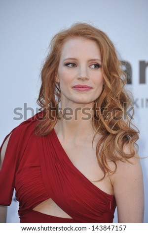 CANNES, FRANCE - MAY 23, 2013: Jessica Chastain at amfAR's 20th Cinema Against AIDS Gala at the Hotel du Cap d'Antibes, France