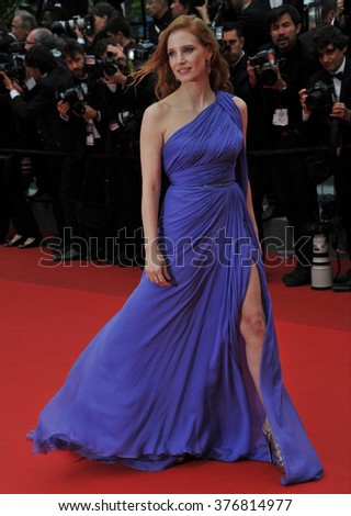 "CANNES, FRANCE - MAY 19, 2014: Jessica Chastain at the gala premiere of Foxcatcher"" at the 67th Festival de Cannes."