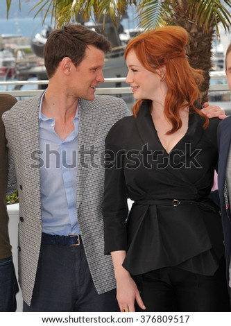 "CANNES, FRANCE - MAY 20, 2014: Matt Smith & Christina Hendricks at the photocall for their movie ""Lost River"" at the 67th Festival de Cannes."