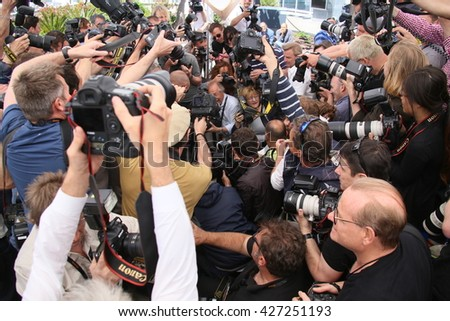 CANNES, FRANCE - MAY 19: Photographers attends the 'Gimme Danger' photocall during the 69th annual Cannes Film Festival at Palais des Festivals on May 19, 2016 in Cannes, France.