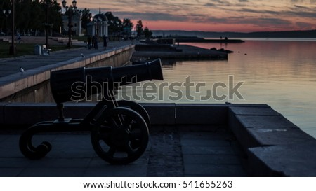 Cannon on the waterfront. Petrozavodsk. Karelia
