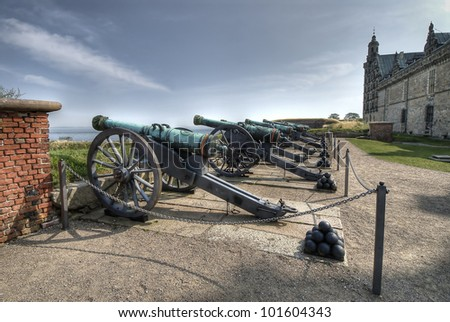 Cannons at renaissance Kronborg castle in Helsingor, Denmark.