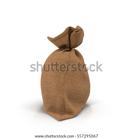 Canvas money sack with empty space on white. 3D illustration