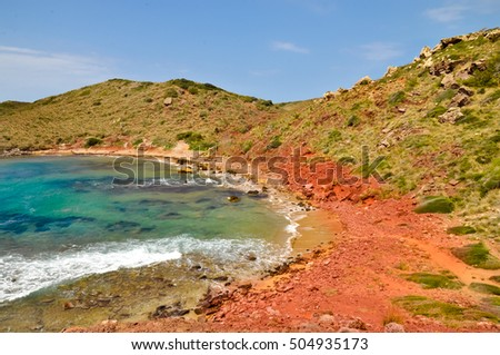 Cape Cavalleria. Red rocks and sea, Minorca