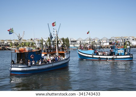CAPE TOWN HARBOUR BLESSING FISHING FLEET FESTIVAL - OCTOBER 2015 - Cape Town harbour South Africa  Annual Blessing of the Fishing Fleet celebrations when visitors are given a trip on a fishing vessel