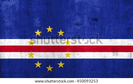 Cape Verde country flag with grunge wall texture background.