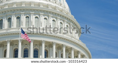 Capitol Building dome detail with copyspace - Washington DC United States