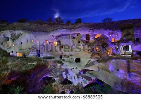 "Cappadocia, Ayvali village. Some ""cavehouses"" in a beautiful valley, that once served as cells for the monks of a Greek-Orthodox monastery. Located between Urgup and Sinasos (Mustafapasa),"