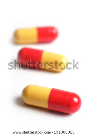 Capsules on a white background, studio isolated