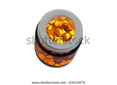 Capsules with a medicine isolated on a white background