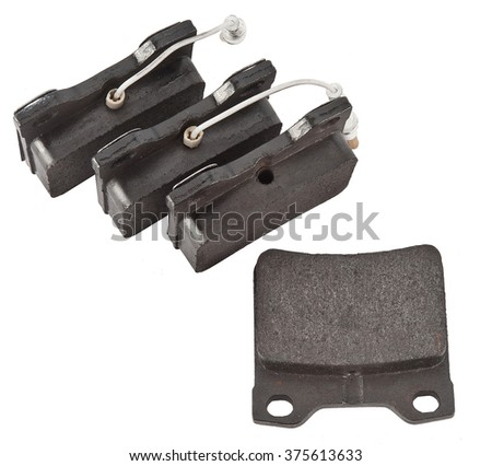 Car brake pads on white background