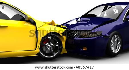 Car crash / accident close up