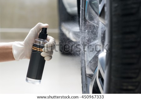 car detailing series worker cleaning white 367602932 shutterstock. Black Bedroom Furniture Sets. Home Design Ideas