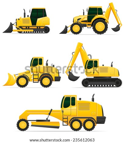 car equipment for construction work illustration isolated on white background