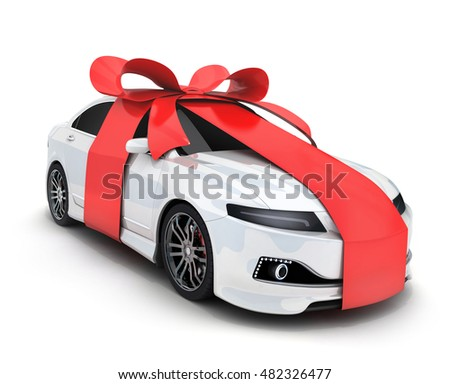 Car gift and ribbon on white background (done in 3d rendering)