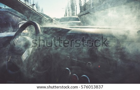car interior smoke vapour vape inside stock photo 573347020 shutterstock. Black Bedroom Furniture Sets. Home Design Ideas