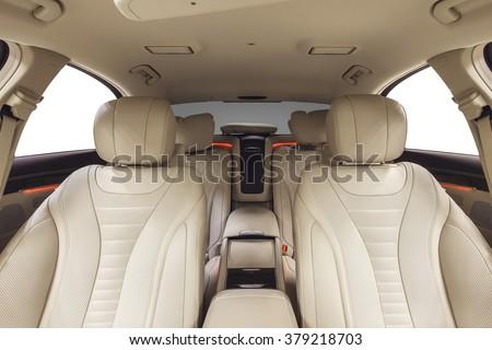 car interior luxury beige comfortable seats stock photo 374122960 shutterstock. Black Bedroom Furniture Sets. Home Design Ideas