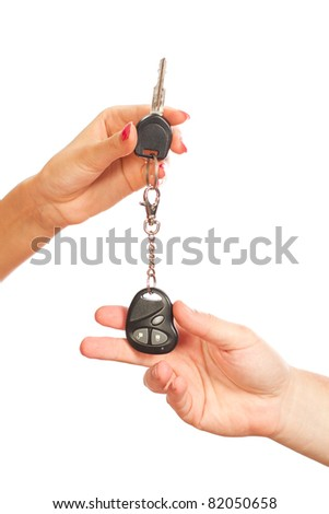 Car key on a white background