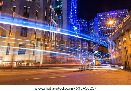 Car light trails and urban landscape night traffic in Hong Kong