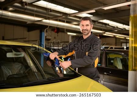 Car Mechanic Checking Car Auto Repair Stock Photo