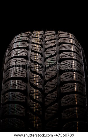 Car winter tire close up