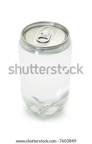 Carbonated drink in plastic can with metal top on white background