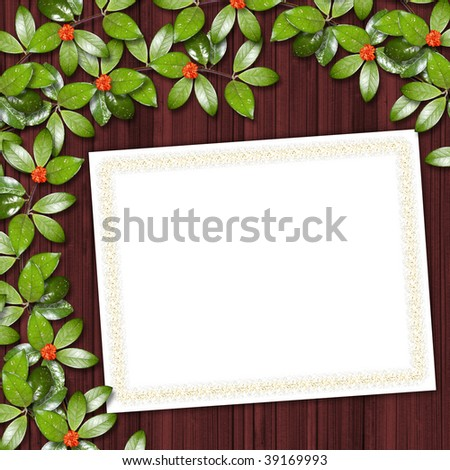 Card for greeting or invitation on the abstract background with ivy's leaves.