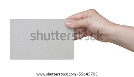 card in a hand against,isolated on white with clipping path.