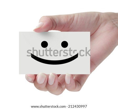 Card with happy icon in hand