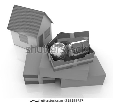 Cardboard boxes, gifts, earth and houses on a white background