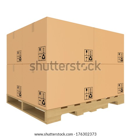 Cardboard boxes on pallet. Isolated on white background.