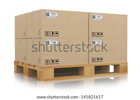 cardboard boxes on pallets